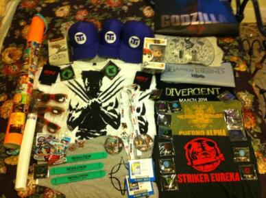 This is a picture of all the SDCC swag we got! @GeekCrusade