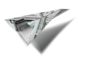 Dollar paper plane